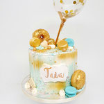 Turqouise and Gold DripCake, Taia , Taart Den Bosch