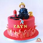 Zayn, brandweerman sam taart, taart Den Bosch