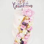 Flowers and Gold WeddingCake, Marjolein en Yusuf, Bruidstaart Den Bosch