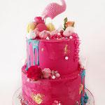 Flamingo Cake Pink Love, Maan,Taart Den Bosch