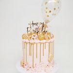 Golden Drip First Birthday Cake. Taart Den Bosch