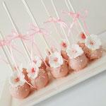 Cakepops Pink with flower, Cakepops den Bosch