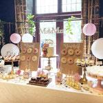 WeddingSweetTable Irene en Jeroen, WeddingCake Flowers and LeafGold, WeddingSweetTable Den Bosch