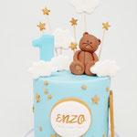 Teddybear following the stars, Enzo 1 jaar, Taart Den Bosch