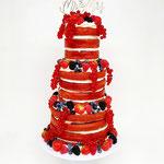 Red Velvet Naked Wedding Cake, Ruben en Sanne, Bruidstaart Den Bosch