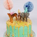 PartyAnimals Cake, Sophie en Lev 1 jaar, Lactosevrije taart, Taart Den Bosch
