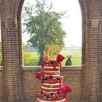 WeddingCake Naked Red Velvet, Anita en Dennis, Bruidstaart Den Bosch, Weddingcake Den Bosch