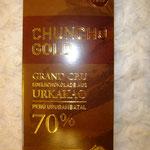 Chuncho Gold, Urkakao, Vegane Schokolade ohne Palmöl, Peru Puro, 2. Platz Schokoladen-Weltmeisterschaft Silber