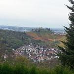 Aussicht auf Uhlbach und dahinter den Württemberg mit der Grabkapelle