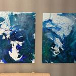 Zwei kleinformatige Blau-Grüne Bilder