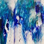 Blau-Grünes Bild 3, 2015, Acryl auf Papier, ca. 2,10 x 3,00 m