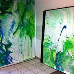 Blau-Grünes Bild 9 mit Blau-Grünem Bild 10/11 in Ausstellungsansicht