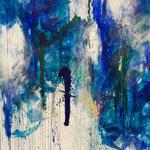 Blau-Grünes Bild 4, 2015, Acryl auf Papier, ca. 2,10x 3,00 m