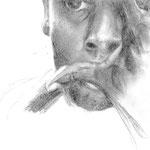 Porträt, 2007 (gezeichnet im Alter von 16 Jahren), Bleistift auf Papier, ca. 20 x 25 cm