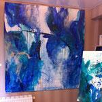 Ausstellungsansicht des Blau-Grünen Bildes 3 und eines kleinformatigen Blau-Grünen Bildes