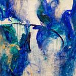Blau-Grünes Bild 5, 2016, Acryl auf Papier, ca. 2,10 x 2,10 m