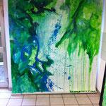 Blau-Grünes Bild 9 in Ausstellungsansicht