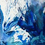 Blau-Grünes Bild klein 1/3, 2016, Acryl auf MDF, 50 x 60 cm