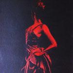 Flamencotänzerin, 2010 (gezeichnet im Alter von 19 Jahren) , Buntstift auf schwarzer Pappe, 50 x 70 cm