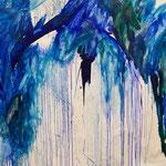 Blau-Grünes Bild 6, 2016, Acryl auf Papier, ca. 2,10 x 2,10 m