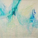 Blau-Grünes Bild 14, 2017, Acryl auf Papier, ca. 2,10 x 2,10 m