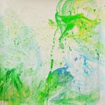 Blau-Grünes Bild 11, 2017, Acryl auf Papier, ca. 2,10 x 2,10 m