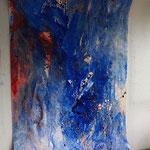 Blaues Bild, 2015, Acryl auf Papier, ca. 2,10 x 3,50 m