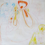 Muschelähnlich, 2012 / 2013, Mischtechnik auf Papier, , ca. 40 x 50 cm