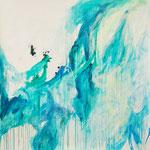 Blau-Grünes Bild 12, 2017, Acryl auf Papier, ca. 2,10 x 2,10 m