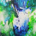 Blau-Grünes Bild 8, 2016, Acryl auf Papier, ca. 2,10 x 2,90 m