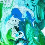Blau-Grünes Bild klein 2/4, 2016, Acryl auf MDF, 50 x 60 cm