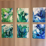 Sechs kleinformatige Blau-Grüne Bilder