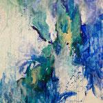 Blau-Grünes Bild 1, 2014, Acryl auf Papier, ca. 2,10 x 2,60 m