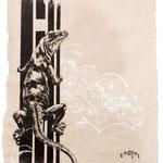 """""""Light of Day"""", Acryltinten auf handgeschöpftem Papier, Honsar, 2017. -VERKAUFT-"""