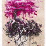 """""""Roots and Branches"""", Acryltinten auf handgeschöpftem Papier, Honsar, 2017. -VERKAUFT-"""