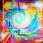 """""""Colorful Breeze"""", Honsar, 54x54cm,  Acrylfarben, Mischtechnik auf handgeschöpftem Papier, 2018. -VERKAUFT-"""