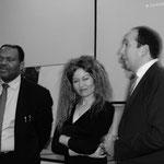 Les Echevins Députés Bertin Mampaka, Hamza Fassi Fihri et Annie Mokto présidente de l'AISBL Ecran Total