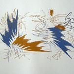 Siebdruck Gold / Blau