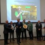 Siegerehrung v.l. mit Fredy Winter, 2. Platzierter Volker Kastrup, Carl Fürst zu Wied, Joachim Schulz, vom RSB Vizepräsident Klaus Steffen, OB Nikolaus Roth