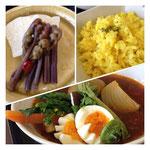 ピクルス(はやと瓜&わらび)・ターメリックライス・山菜スープカレー