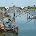 Installations de pêche dans le lac Ulcinjska Solana