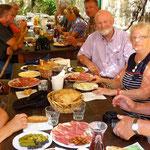 Parc de Krka, l'équipe des Français au complet pendant le repas