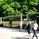 Arrivés à Plitvička Jezera, le petit train nous emmène en haut du site
