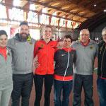 Im Bild von links nach rechts: Anna Wagner (Physiotherapeutin), Christoph Bischlager, Delia Gaede, Thomas Göpfert (Teamleiter), Holger Menne (Bundestrainer), Steffen Rosewig (DGS-Delegationsmitglied)
