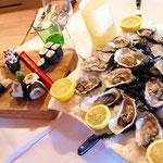Die Vorspeise : Sushi und Austern ....