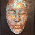 Schweigen - Maske auf Holzplatte, Ton gebrannt mit Kupfer-Patina - 70 x 100 cm (2019)