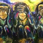 Die  drei weisen Affen - 100 x 70 (2020)