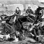 La battaglia di Isandlwana in una stampa dell'epoca.