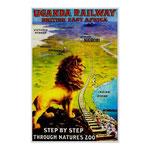 Stampa pubblicitaria vintage della ferrovia Uganda.