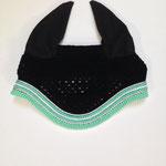 Bonnet 5 cordelettes, vert d'eau, blanc et argent